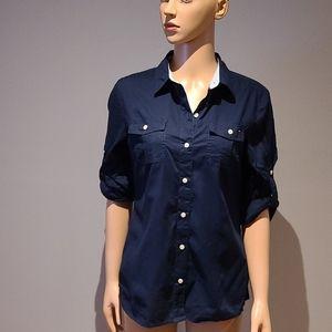 Tommy Hilfiger navy button down shirt size M
